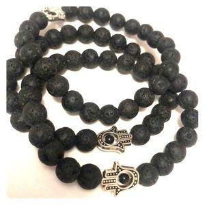 Natural Stone Hamsa Hand Bracelet
